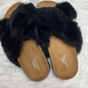 UO • Crossed Faux Fur Slides